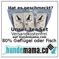 Hundemama.com Snack versandkostenfrei 80% Geflügel oder Fisch